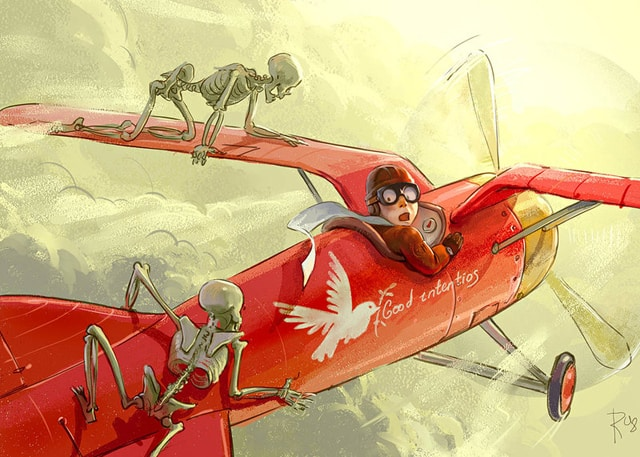 Flyer_and_skeletons_by_Waldemar_Kazak